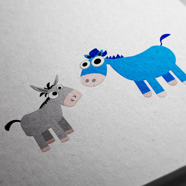 The donkey and blue horse